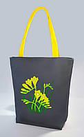 """Женская сумка """"Цветы"""" Б358 - серая с желтыми ручками"""