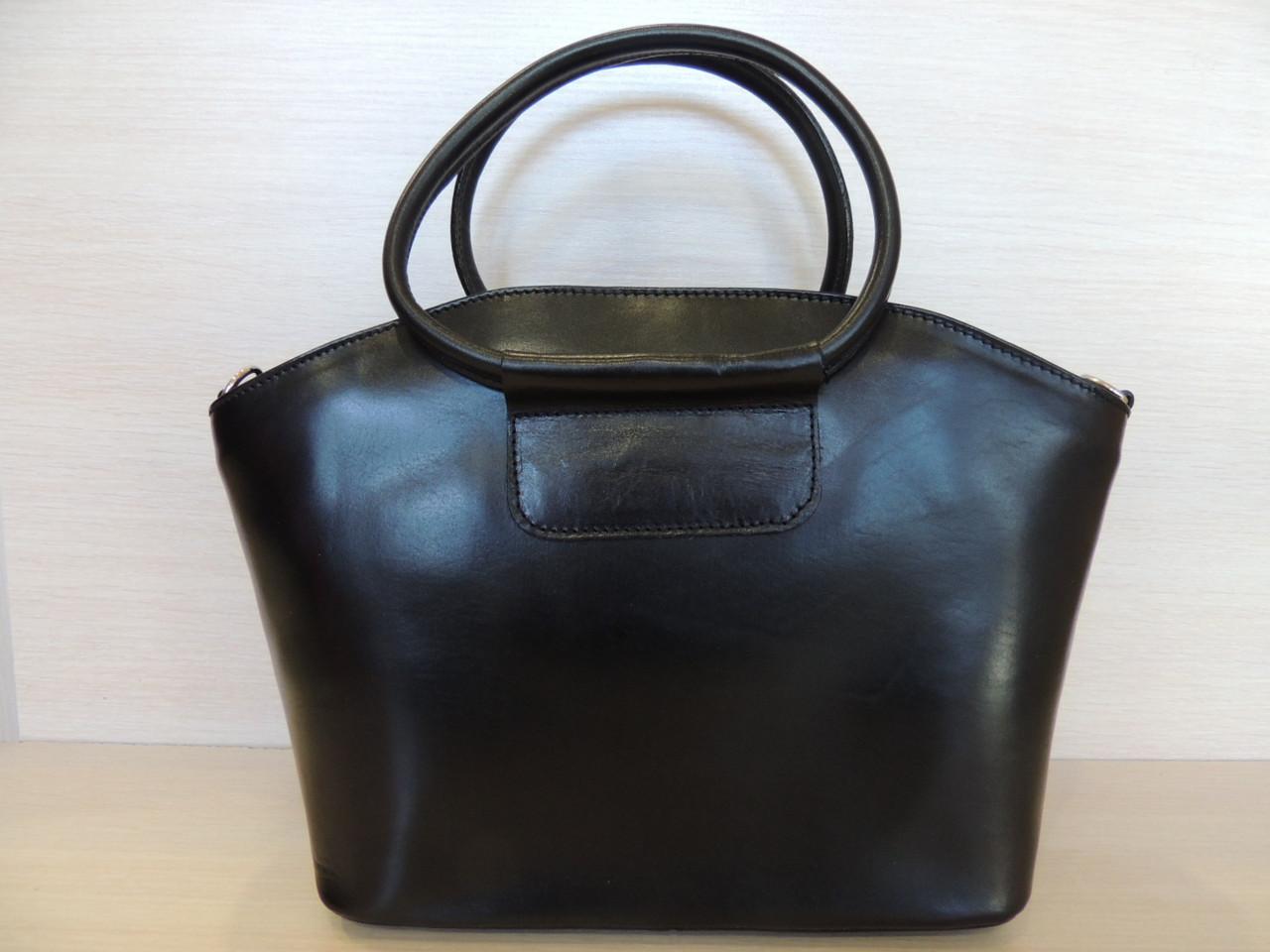 Коричневая, черная деловая сумка женская, кожаная. Италия Черный