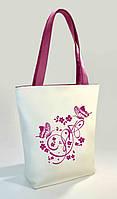 """Женская сумка """"Butterfly"""" Б355 - белая с розовыми ручками"""
