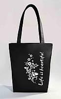 """Женская сумка """"Жизнь прекрасна"""" Б354 - черная"""