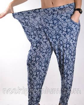 Cултанки, брюки галифе женские цветные бамбук Ласточка (баталы), с карманами, размер 50-56, А401