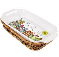 Форма для выпечки 1,5л (блюдо сервировочное) Kamille City прямоугольное в плетенной корзине