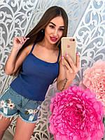 Шорты женские джинсовые с вышивкой цветы