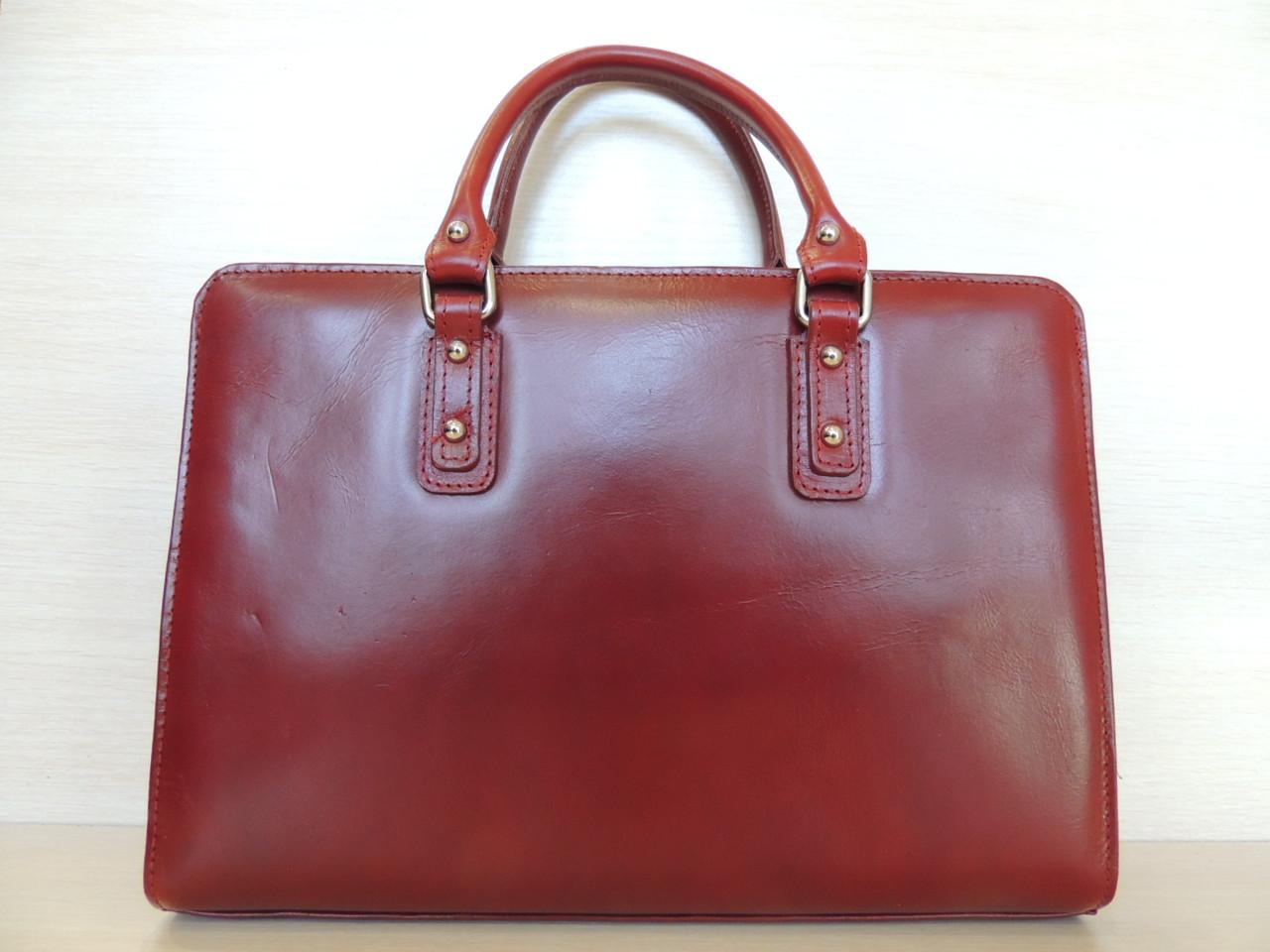 Деловая сумка женская, кожаная, красная, черная. Италия, фото 1