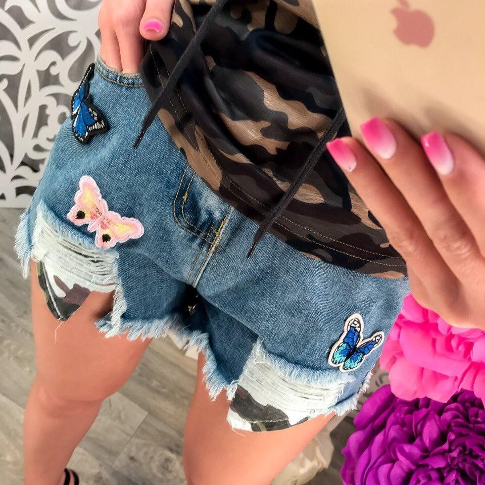Шорты женские джинсовые с бабочками