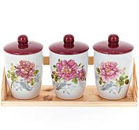 """Набор банок """"Райский сад"""" для сыпучих продуктов 500мл на деревянной подставке"""