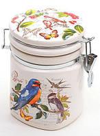 """Банка круглая """"Birds Garden"""" 650мл с крышкой на металлической затяжке"""