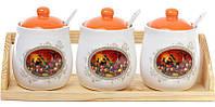 """Набор банок """"Севилья"""" для сыпучих продуктов по 300мл на деревянной подставке с ложечками"""