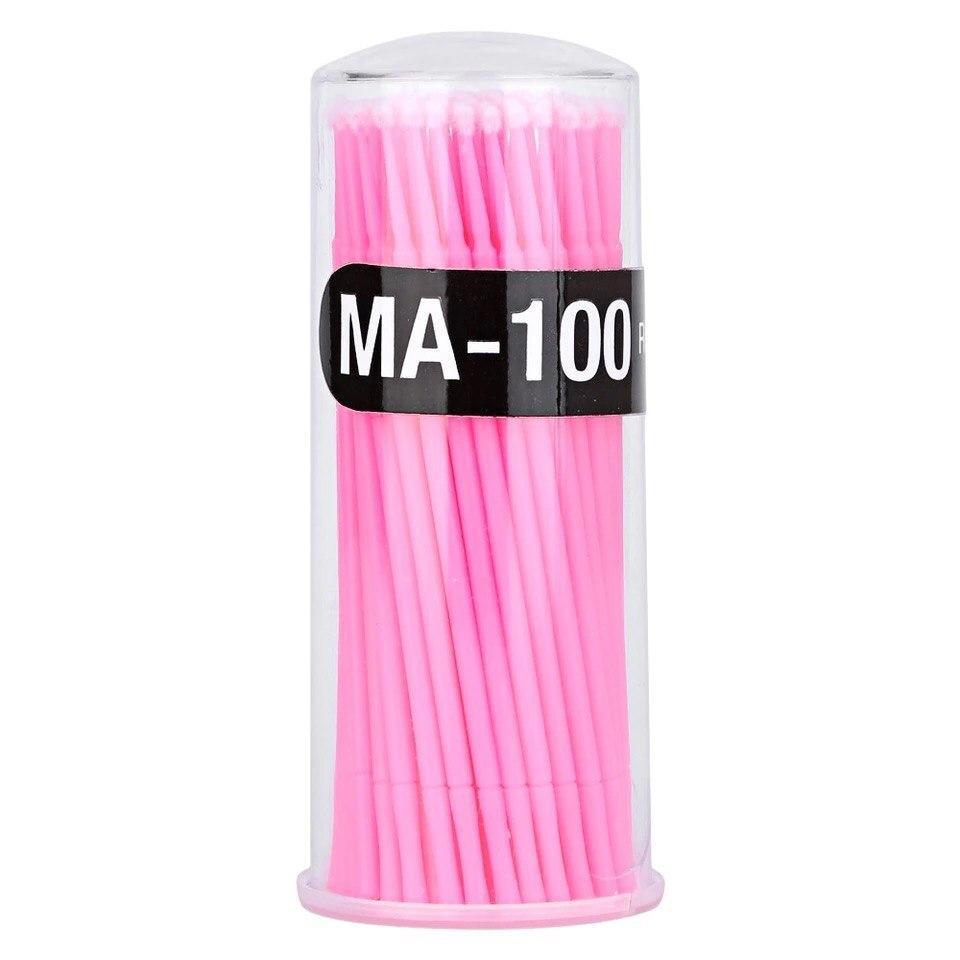 Микробраши в тубусе, розовые, 100 шт