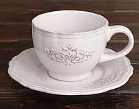 "Чайно-кофейный набор Shabby Chic ""Вензель"" 2 чашки 180мл и 2 блюдца"
