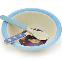 "Детский набор Fissman ""Супермен"" миска, ложка и вилка из бамбукового волокна"