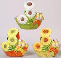 """Корзина для яиц """"Певчая парочка"""" декоративная из керамики 15см"""