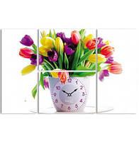 "Часы настенные ""Тюльпаны"" на холсте из 4 секций"