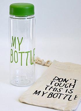 """Бутылка My Bottle 500мл, зеленая + льняной чехол - интернет-магазин """"ДЛЯ ДОМА И СЕМЬИ"""" в Одессе"""