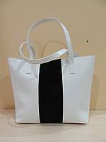 Белая большая сумка женская кожаная. Италия