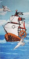 Полотенце пляжное, Турция, 75х150, махра-велюр, Пиратский корабль