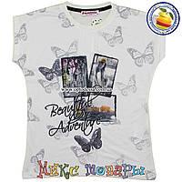 Белая футболка для девочки Размеры: от 10 до 15 лет (4276-4)
