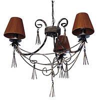 Люстра кованая Кисточки 3 лампы Старая бронза, с абажурами