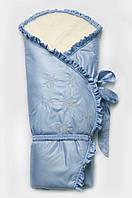 """Зимний конверт-одеяло на овчине для новорожденных """"Сказка"""" - в коляску и на выписку (128*102) ТМ Модный карапуз Голубой"""