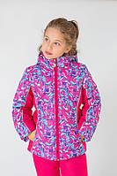 """Утепленная зимняя куртка """"Art pink"""" для девочки 5-8 лет (Разм. 110-128) Модный карапуз Розовый"""