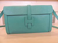 Белая, серая, коричневая, бирюзовая, синяя сумочка - клатч женская кожаная, итальянская. Бирюзовый, фото 1