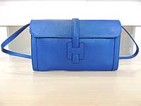 Белая, серая, коричневая, бирюзовая, синяя сумочка - клатч женская кожаная, итальянская. Синий, фото 1