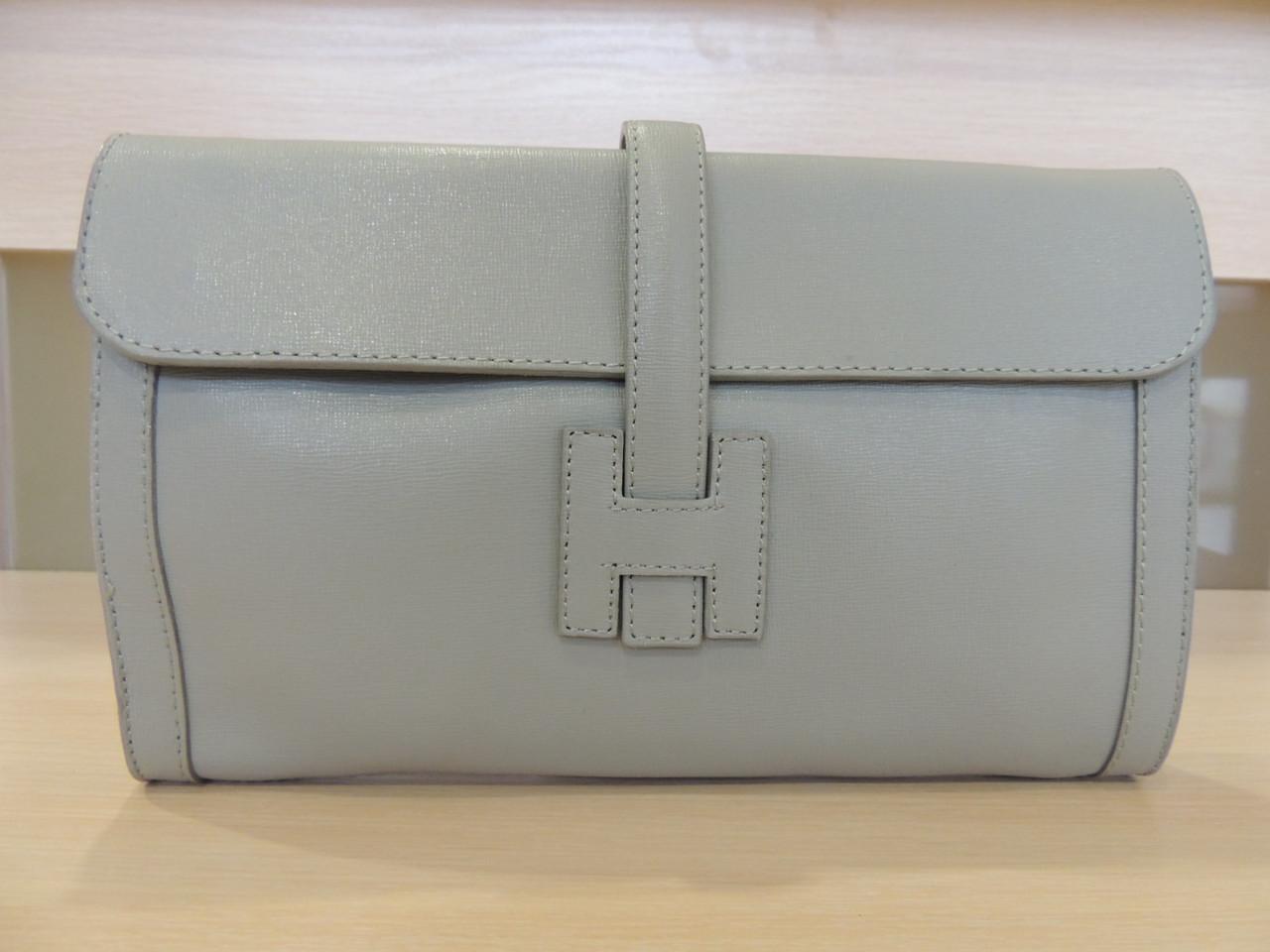 Белая, серая, коричневая, бирюзовая, синяя сумочка - клатч женская кожаная, итальянская. Серый, фото 1