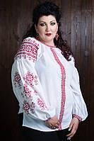 Качественная белая вышиванка с красным орнаментом и пышными рукавами