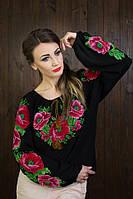 Модная черная  женская вышиванка с длинными рукавами
