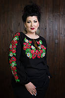 Женская шифонава вышитая рубашка черного цвета с цветочным принтом