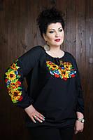 Красивая батистовая черная блуза с вышитыми цветами