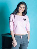 Молодежная женская кофта розового цвета с Микки Маусом