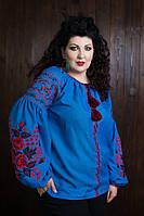 Льняная вышитая рубашка синего цвета с пышными рукавами