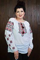 Нарядная женская вышитая рубашка белого цвета из легкогой шифона