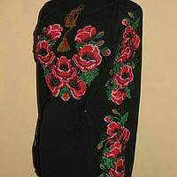 Стильная шифоновая блузка черного цвета с вышивкой красные маки