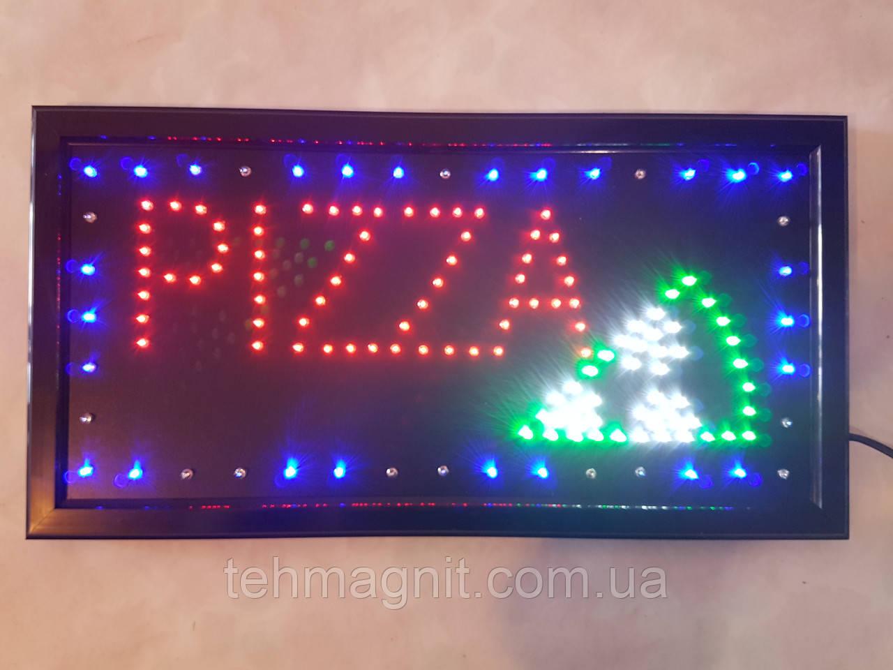 """Светодиодная LED вывеска """"PIZZA"""" 48 Х 25 см"""