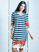 Модное платье в полоску, полу-приталенного кроя с цветочным принтом