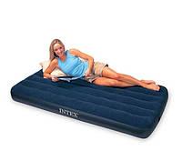 Надувной велюровый матрас Intex 68757, одноместный, синий,191 х 99 х 22 см