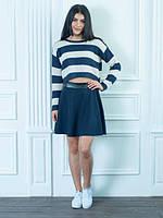 Синяя юбка-клеш высокой посадки с поясом из эко-кожи