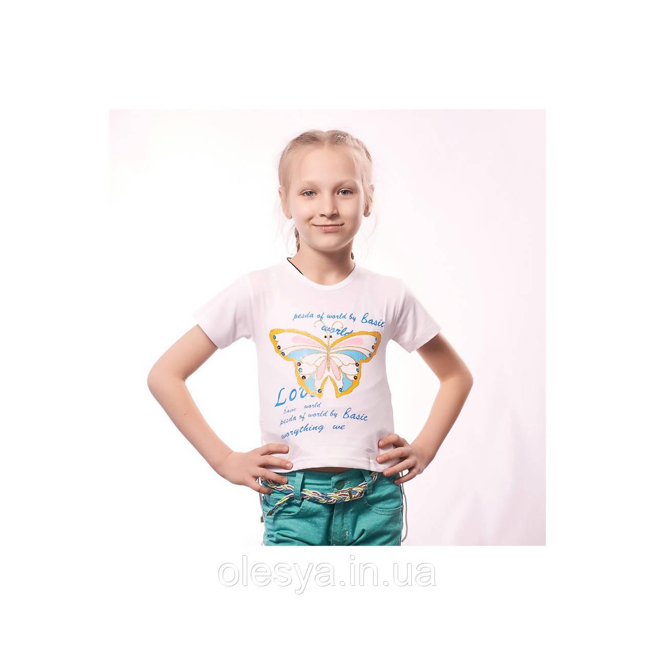 Детская футболка на девочку Бабочки Турция Размеры 104- 116