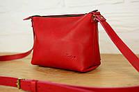 Кожаная женская сумка кросс-боди Лето LUX | Италия Красный, фото 1