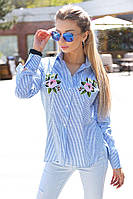 Элегантная рубашка-туника в полосочку с розами