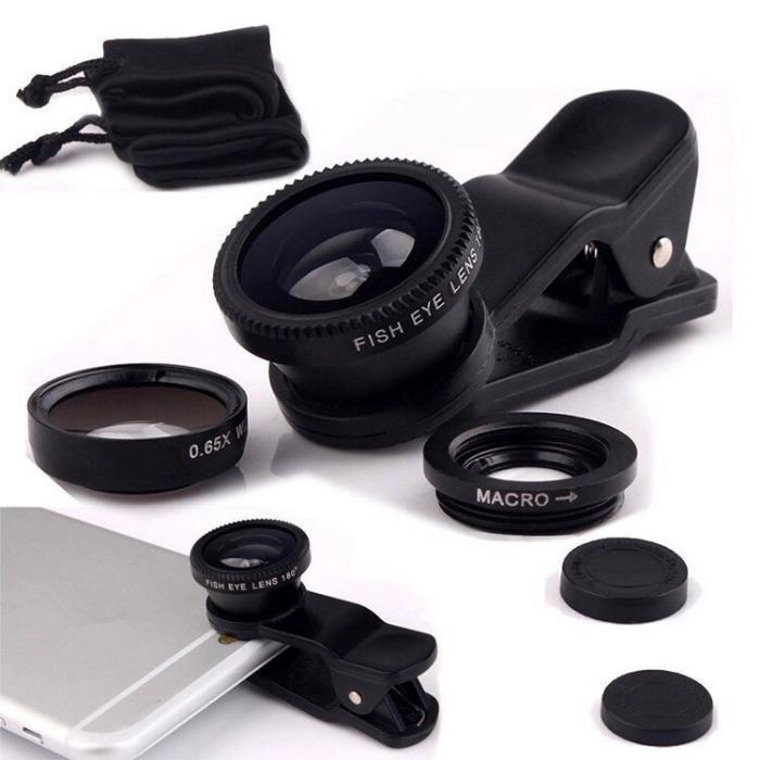 Комплект линз (объективов) для телефона 3 в 1 FishEye Фишай Черный цвет