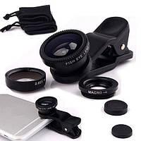 Комплект линз (объективов) для телефона 3 в 1 FishEye Фишай Черный цвет, фото 1