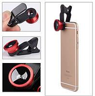Комплект линз (объективов) для телефона 3 в 1 FishEye Фишай Красный цвет