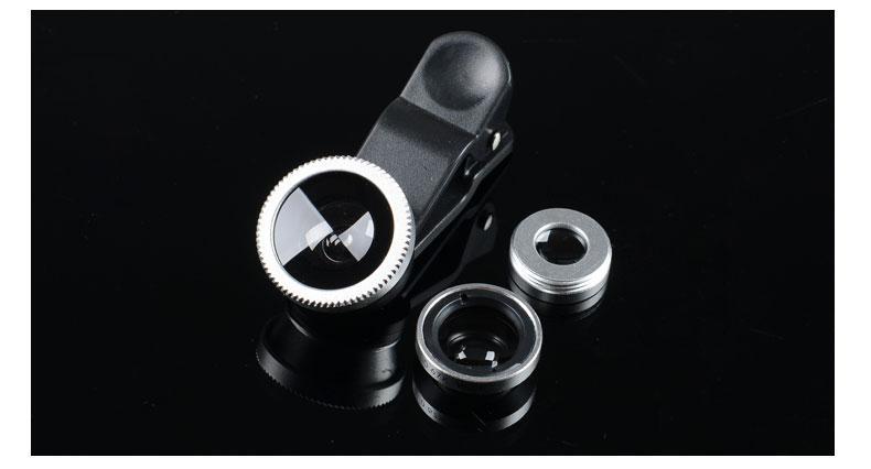Комплект линз (объективов) для телефона 3 в 1 FishEye Фишай Серебристый цвет