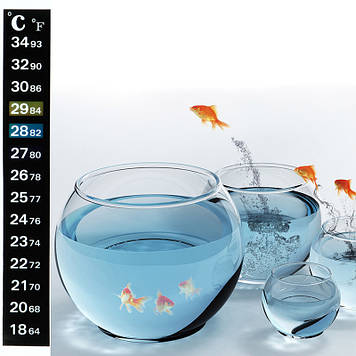 Термометр (градусник) стикер на самоклейке для аквариума, шкала Цельсий / Фаренгейт
