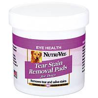 Влажные салфетки Nutri-Vet Tear Stain Removal Pads для собак, удаление слезных пятен и слюны, 90 шт.