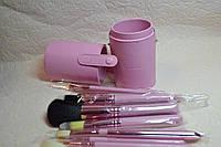 Кисти для макияжа MAC в тубусе 12 штук, розовые