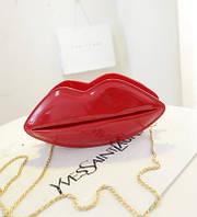 Красная сумка-губы для девочки,кроссбоди,уценка